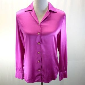 St John Size 2 Blouse Top Fuschia Pink Purple Long